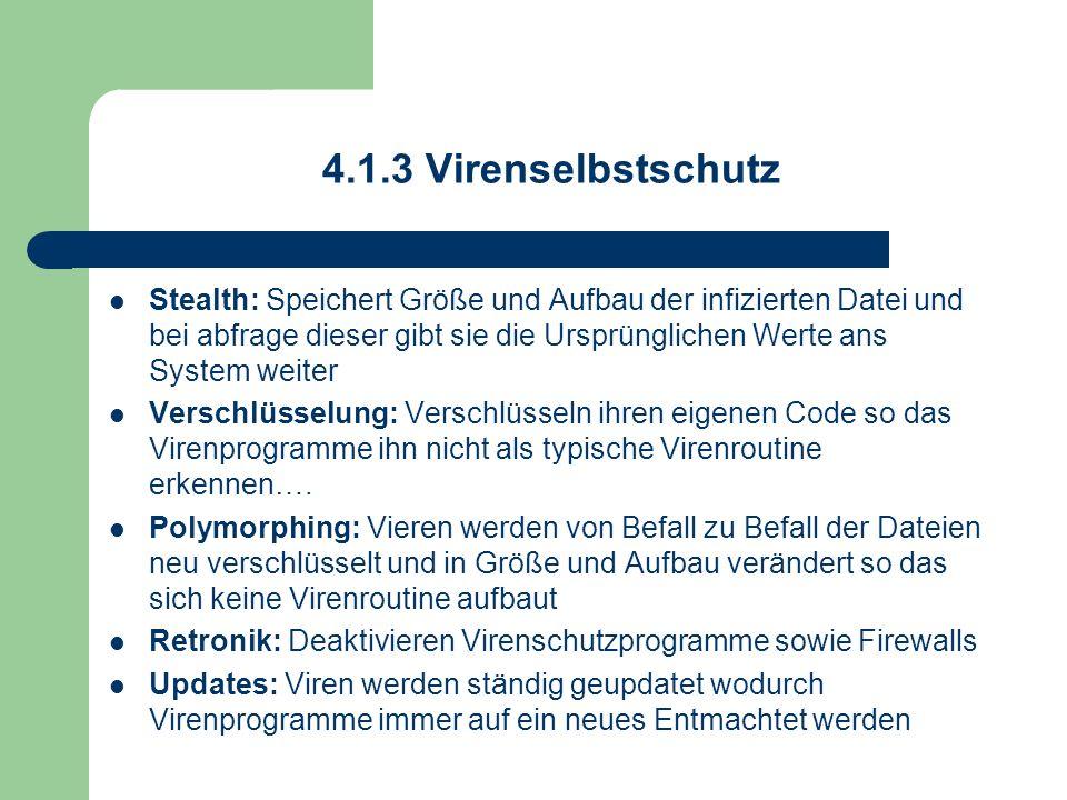 4.1.3 Virenselbstschutz Stealth: Speichert Größe und Aufbau der infizierten Datei und bei abfrage dieser gibt sie die Ursprünglichen Werte ans System