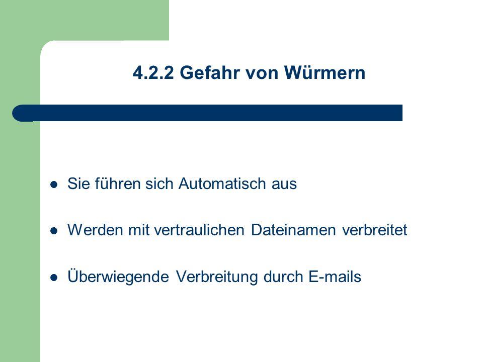 4.2.2 Gefahr von Würmern Sie führen sich Automatisch aus Werden mit vertraulichen Dateinamen verbreitet Überwiegende Verbreitung durch E-mails