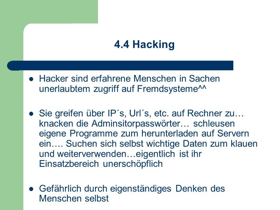 4.4 Hacking Hacker sind erfahrene Menschen in Sachen unerlaubtem zugriff auf Fremdsysteme^^ Sie greifen über IP´s, Url´s, etc. auf Rechner zu… knacken
