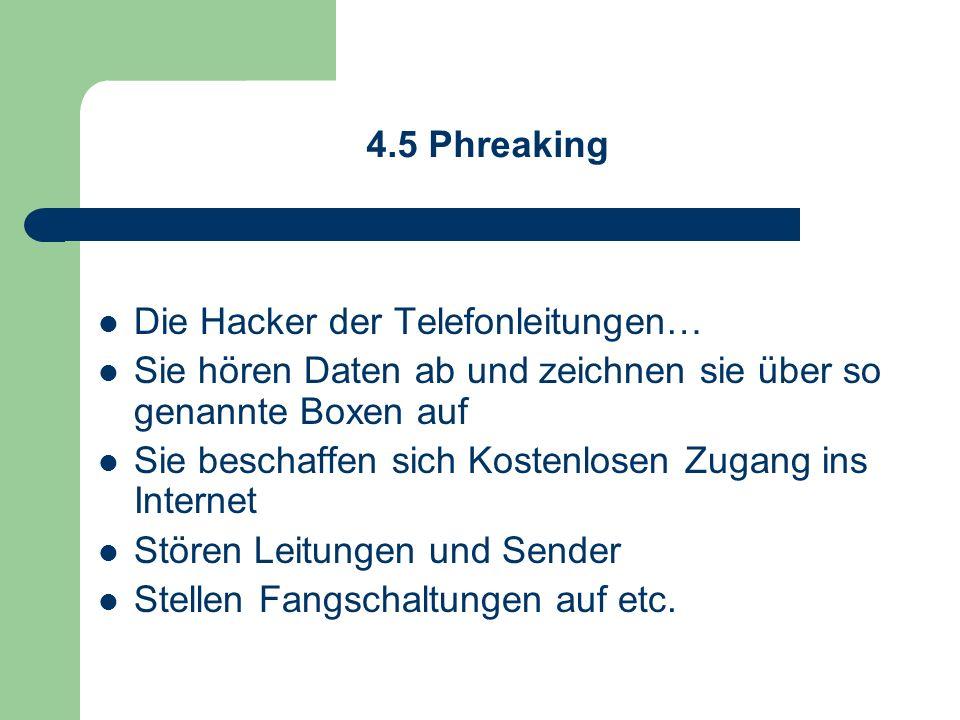 4.5 Phreaking Die Hacker der Telefonleitungen… Sie hören Daten ab und zeichnen sie über so genannte Boxen auf Sie beschaffen sich Kostenlosen Zugang i
