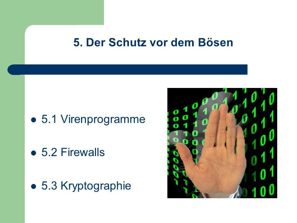 5. Der Schutz vor dem Bösen 5.1 Virenprogramme 5.2 Firewalls 5.3 Kryptographie