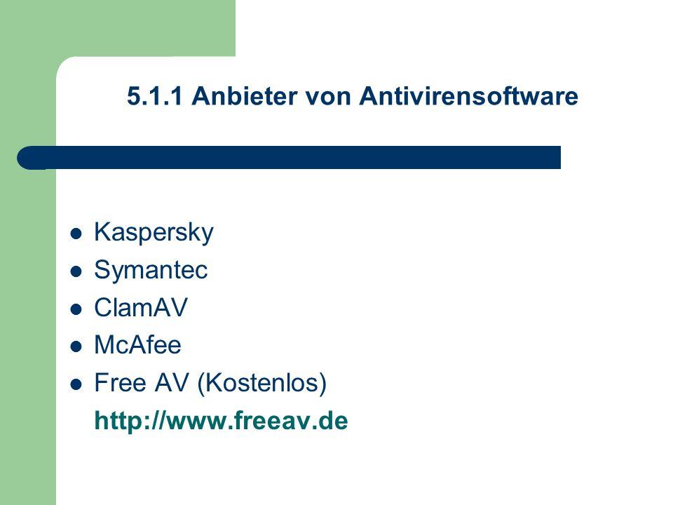 5.1.1 Anbieter von Antivirensoftware Kaspersky Symantec ClamAV McAfee Free AV (Kostenlos) http://www.freeav.de