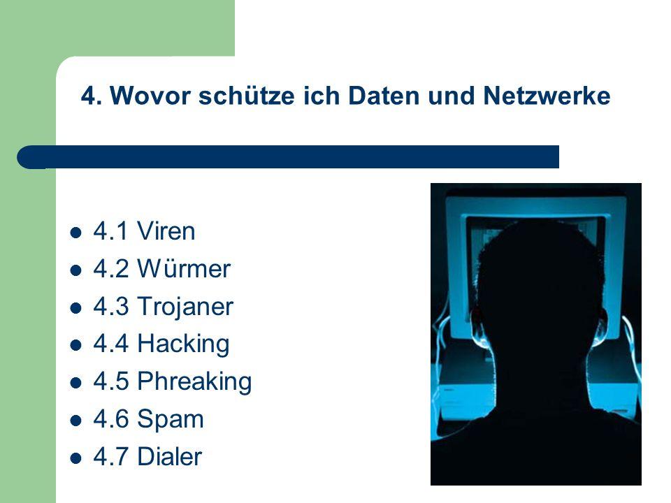 4. Wovor schütze ich Daten und Netzwerke 4.1 Viren 4.2 Würmer 4.3 Trojaner 4.4 Hacking 4.5 Phreaking 4.6 Spam 4.7 Dialer