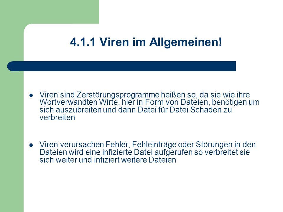 4.1.1 Viren im Allgemeinen! Viren sind Zerstörungsprogramme heißen so, da sie wie ihre Wortverwandten Wirte, hier in Form von Dateien, benötigen um si