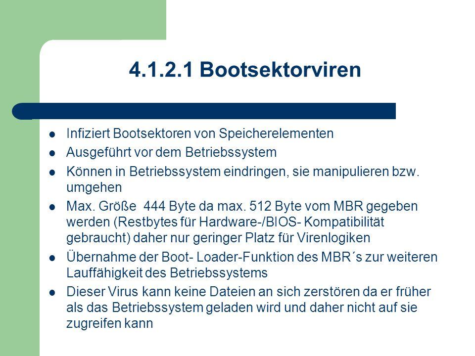 4.1.2.1 Bootsektorviren Infiziert Bootsektoren von Speicherelementen Ausgeführt vor dem Betriebssystem Können in Betriebssystem eindringen, sie manipu