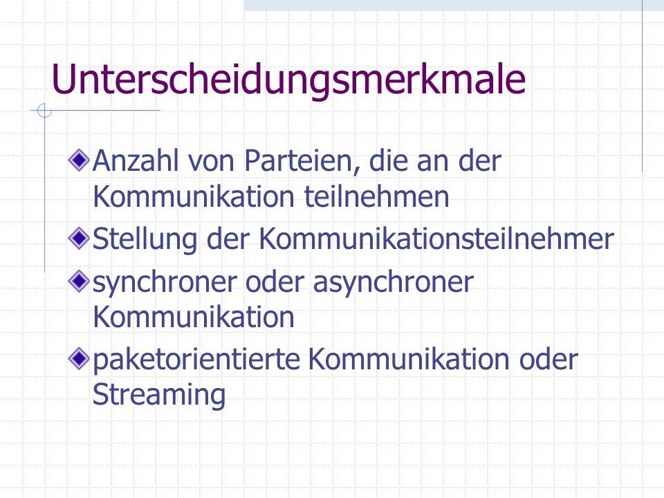 Unterscheidungsmerkmale Anzahl von Parteien, die an der Kommunikation teilnehmen Stellung der Kommunikationsteilnehmer synchroner oder asynchroner Kom