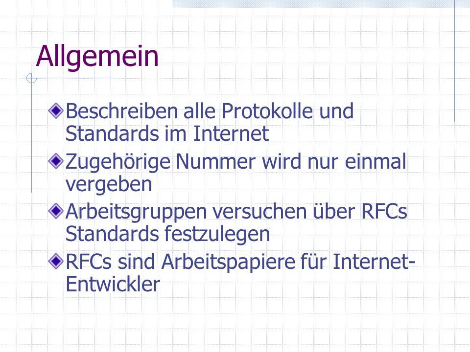 Allgemein Beschreiben alle Protokolle und Standards im Internet Zugehörige Nummer wird nur einmal vergeben Arbeitsgruppen versuchen über RFCs Standard