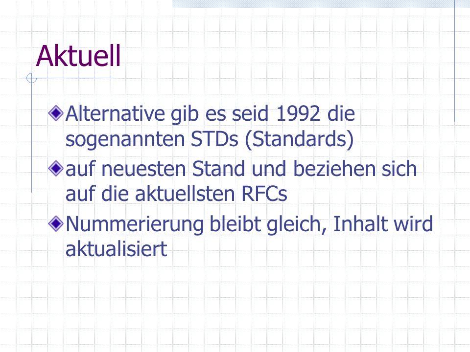 Aktuell Alternative gib es seid 1992 die sogenannten STDs (Standards) auf neuesten Stand und beziehen sich auf die aktuellsten RFCs Nummerierung bleib