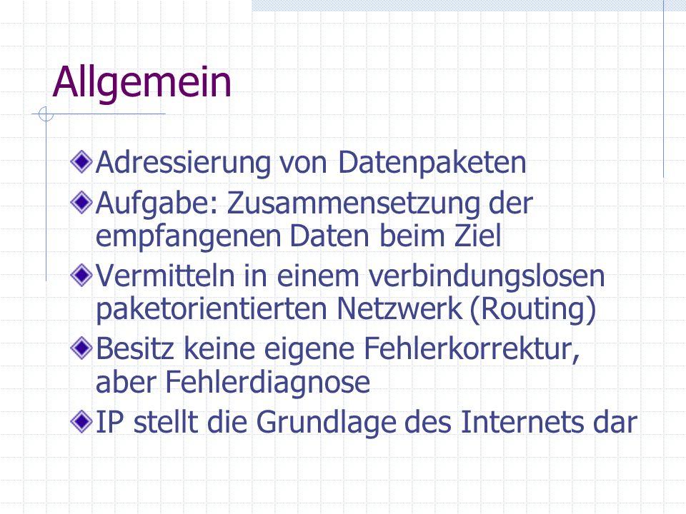 Allgemein Adressierung von Datenpaketen Aufgabe: Zusammensetzung der empfangenen Daten beim Ziel Vermitteln in einem verbindungslosen paketorientierte