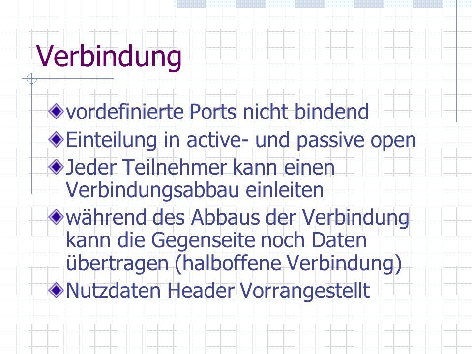 Verbindung vordefinierte Ports nicht bindend Einteilung in active- und passive open Jeder Teilnehmer kann einen Verbindungsabbau einleiten während des