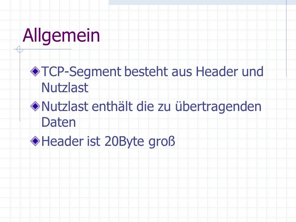 Allgemein TCP-Segment besteht aus Header und Nutzlast Nutzlast enthält die zu übertragenden Daten Header ist 20Byte groß