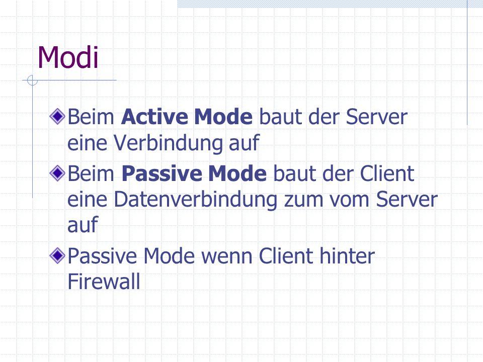 Modi Beim Active Mode baut der Server eine Verbindung auf Beim Passive Mode baut der Client eine Datenverbindung zum vom Server auf Passive Mode wenn