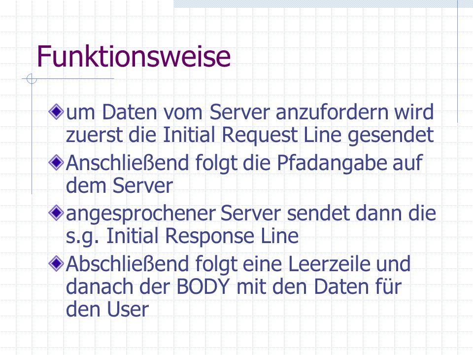 Funktionsweise um Daten vom Server anzufordern wird zuerst die Initial Request Line gesendet Anschließend folgt die Pfadangabe auf dem Server angespro