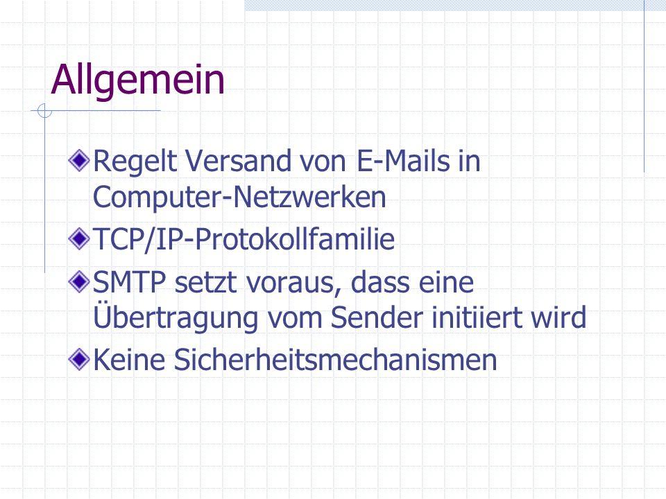 Allgemein Regelt Versand von E-Mails in Computer-Netzwerken TCP/IP-Protokollfamilie SMTP setzt voraus, dass eine Übertragung vom Sender initiiert wird