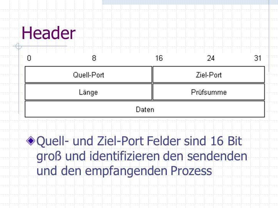Header Quell- und Ziel-Port Felder sind 16 Bit groß und identifizieren den sendenden und den empfangenden Prozess