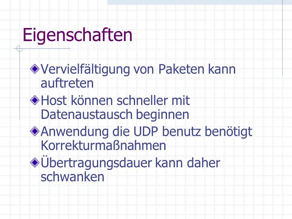 Eigenschaften Vervielfältigung von Paketen kann auftreten Host können schneller mit Datenaustausch beginnen Anwendung die UDP benutz benötigt Korrektu