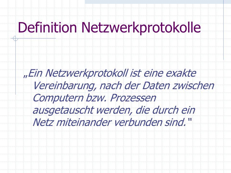 Definition Netzwerkprotokolle Ein Netzwerkprotokoll ist eine exakte Vereinbarung, nach der Daten zwischen Computern bzw. Prozessen ausgetauscht werden