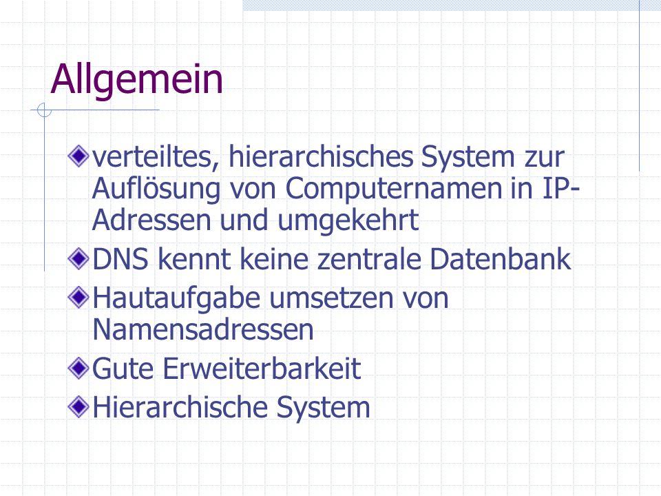 Allgemein verteiltes, hierarchisches System zur Auflösung von Computernamen in IP- Adressen und umgekehrt DNS kennt keine zentrale Datenbank Hautaufga