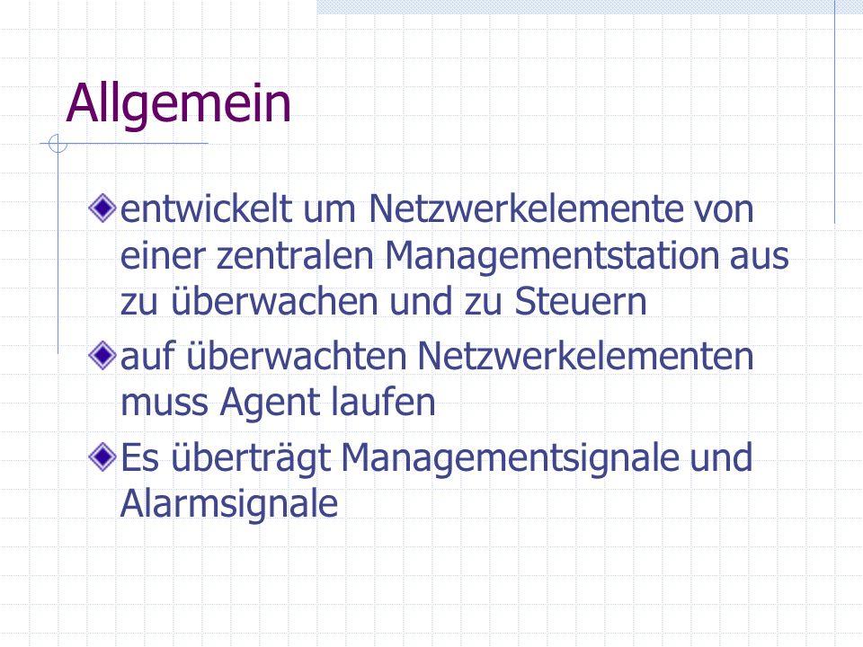 Allgemein entwickelt um Netzwerkelemente von einer zentralen Managementstation aus zu überwachen und zu Steuern auf überwachten Netzwerkelementen muss