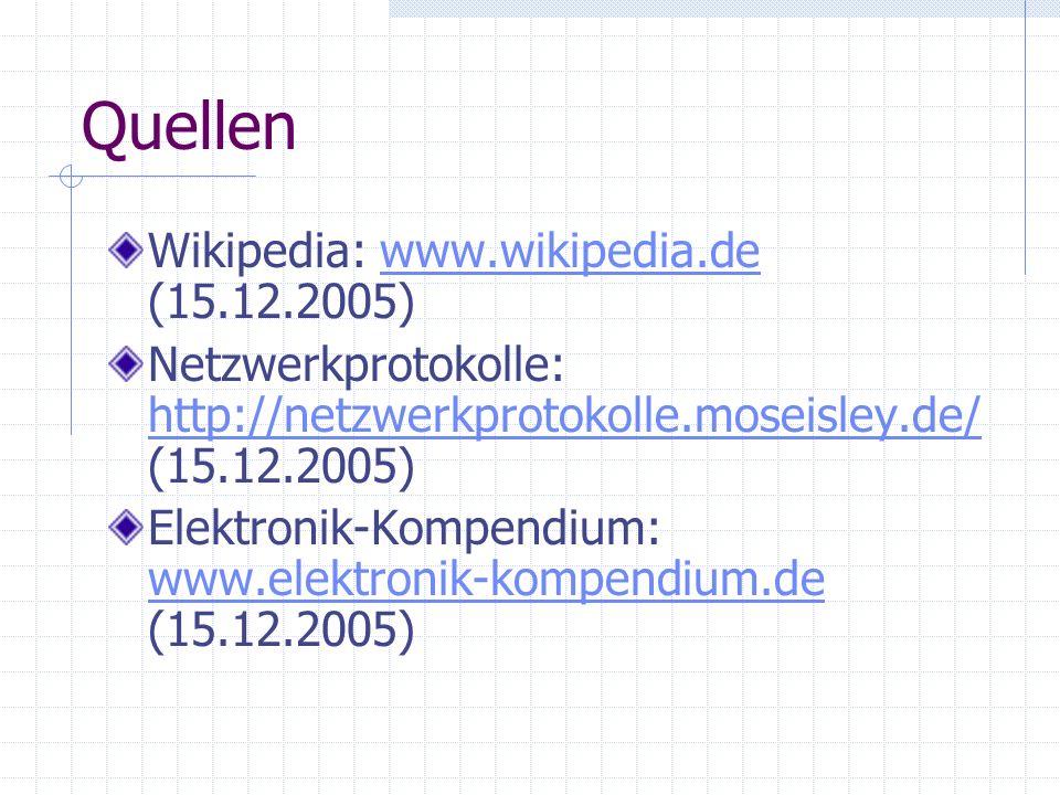 Quellen Wikipedia: www.wikipedia.de (15.12.2005)www.wikipedia.de Netzwerkprotokolle: http://netzwerkprotokolle.moseisley.de/ (15.12.2005) http://netzw