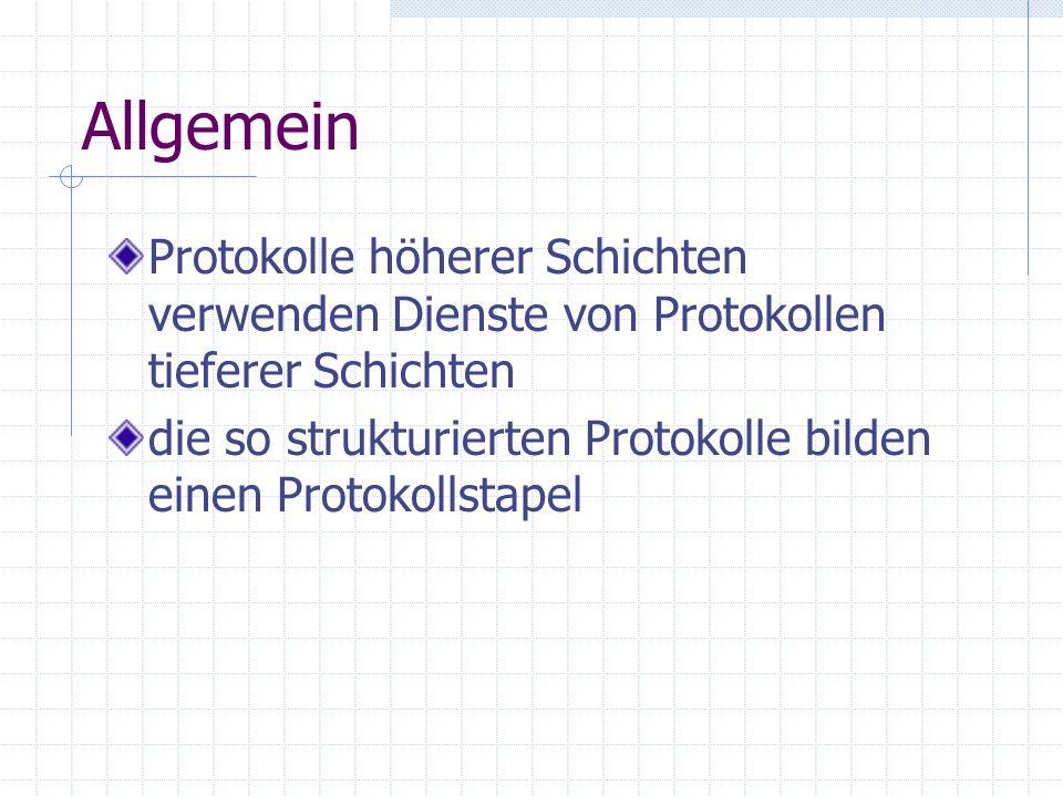 Allgemein Protokolle höherer Schichten verwenden Dienste von Protokollen tieferer Schichten die so strukturierten Protokolle bilden einen Protokollsta