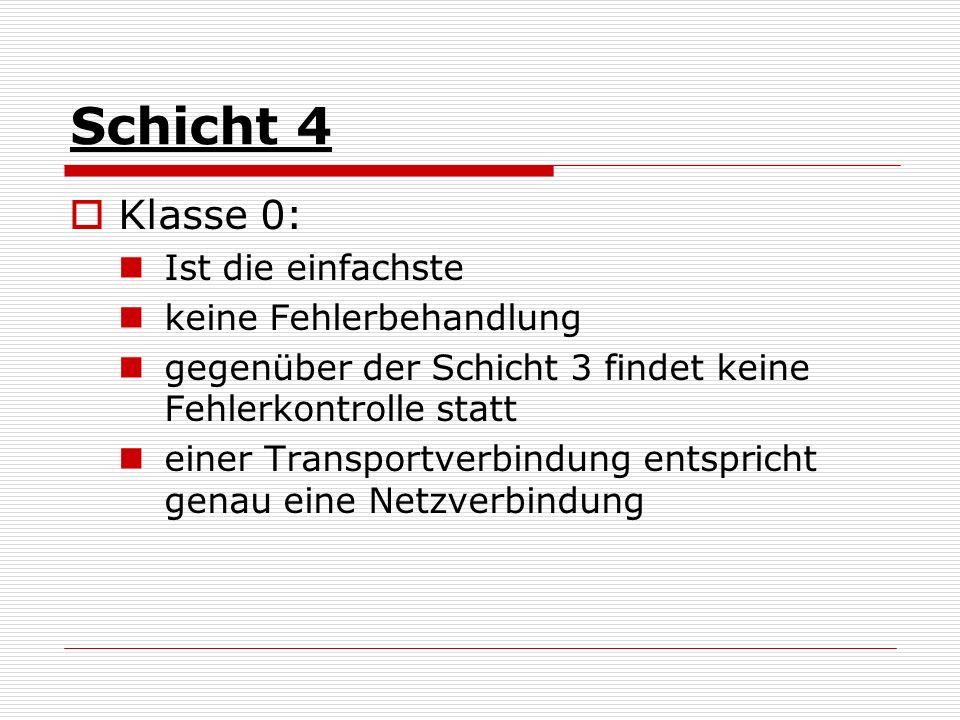 Schicht 4 Klasse 0: Ist die einfachste keine Fehlerbehandlung gegenüber der Schicht 3 findet keine Fehlerkontrolle statt einer Transportverbindung ent