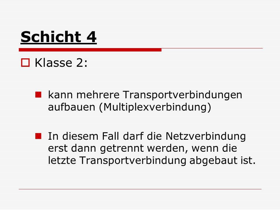 Schicht 4 Klasse 2: kann mehrere Transportverbindungen aufbauen (Multiplexverbindung) In diesem Fall darf die Netzverbindung erst dann getrennt werden