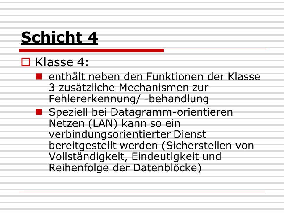 Schicht 4 Klasse 4: enthält neben den Funktionen der Klasse 3 zusätzliche Mechanismen zur Fehlererkennung/ -behandlung Speziell bei Datagramm-orientie