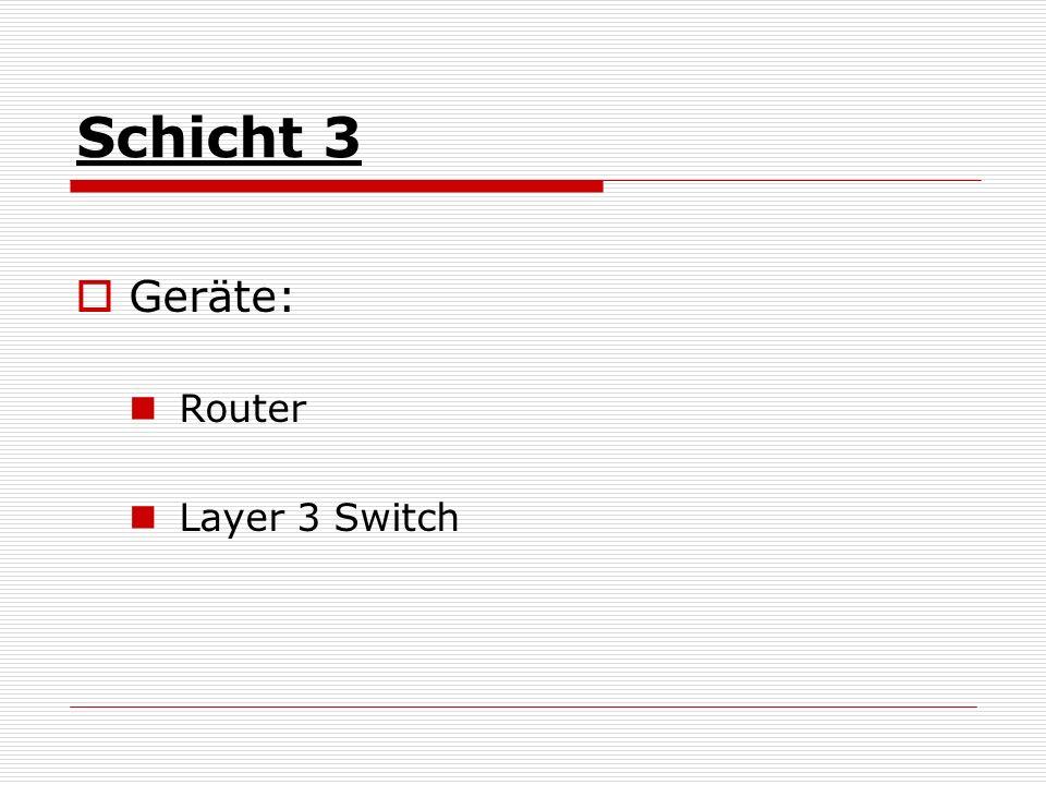 Schicht 3 Geräte: Router Layer 3 Switch