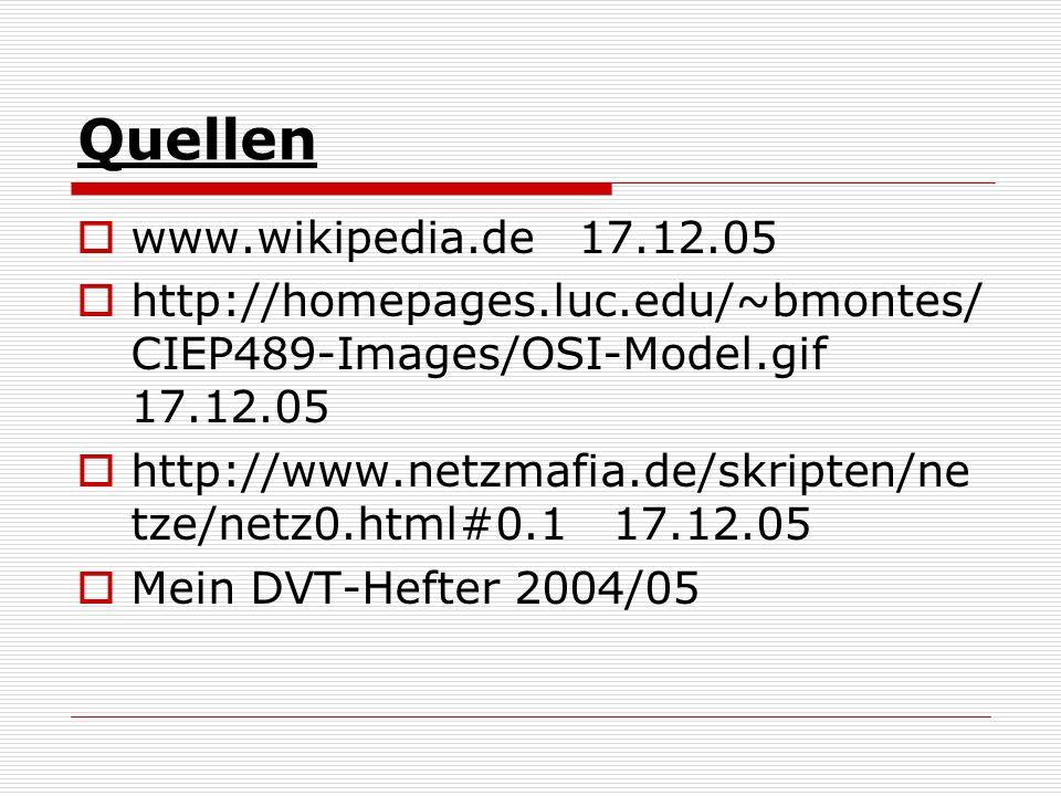 Quellen www.wikipedia.de 17.12.05 http://homepages.luc.edu/~bmontes/ CIEP489-Images/OSI-Model.gif 17.12.05 http://www.netzmafia.de/skripten/ne tze/net