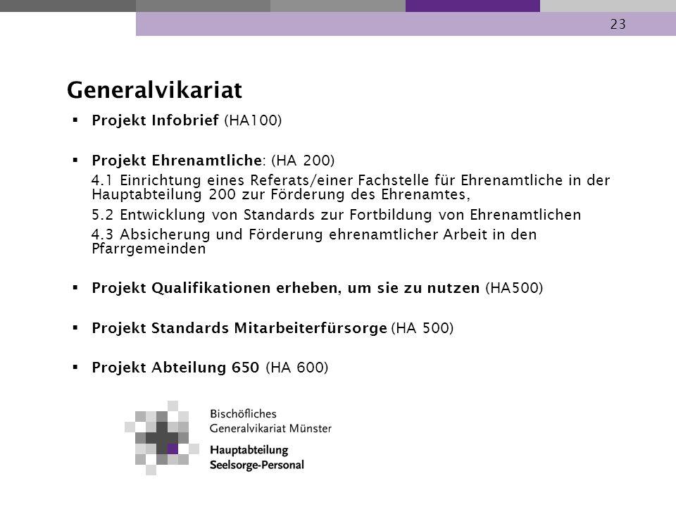 23 Projekt Infobrief (HA100) Projekt Ehrenamtliche: (HA 200) 4.1 Einrichtung eines Referats/einer Fachstelle für Ehrenamtliche in der Hauptabteilung 2