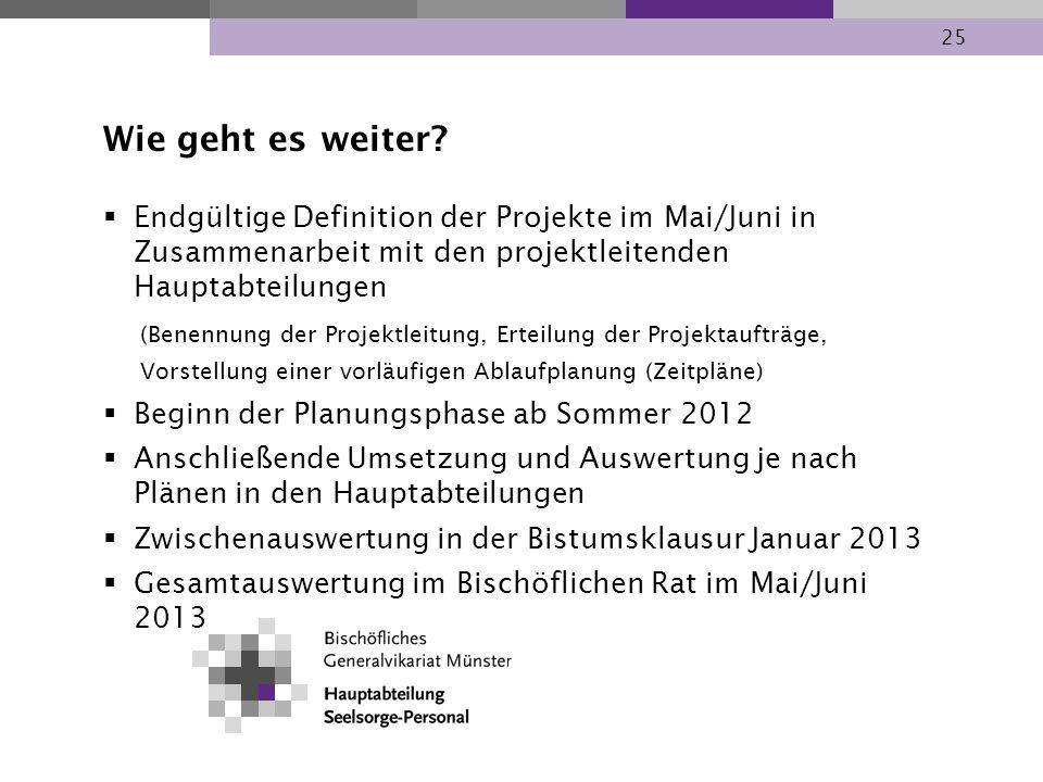 25 Wie geht es weiter? Endgültige Definition der Projekte im Mai/Juni in Zusammenarbeit mit den projektleitenden Hauptabteilungen (Benennung der Proje