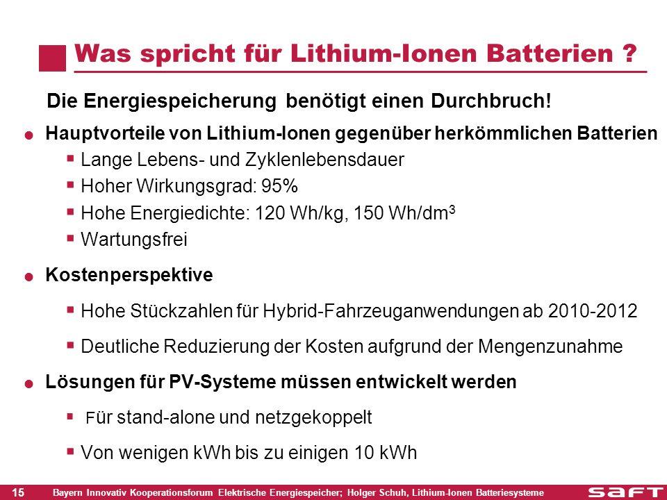 15 Bayern Innovativ Kooperationsforum Elektrische Energiespeicher; Holger Schuh, Lithium-Ionen Batteriesysteme Was spricht für Lithium-Ionen Batterien