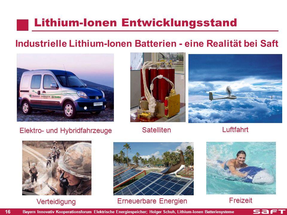 16 Bayern Innovativ Kooperationsforum Elektrische Energiespeicher; Holger Schuh, Lithium-Ionen Batteriesysteme Industrielle Lithium-Ionen Batterien -