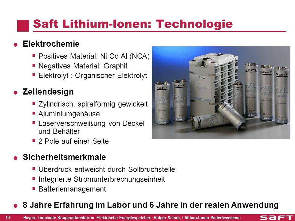 17 Bayern Innovativ Kooperationsforum Elektrische Energiespeicher; Holger Schuh, Lithium-Ionen Batteriesysteme Saft Lithium-Ionen: Technologie Elektro