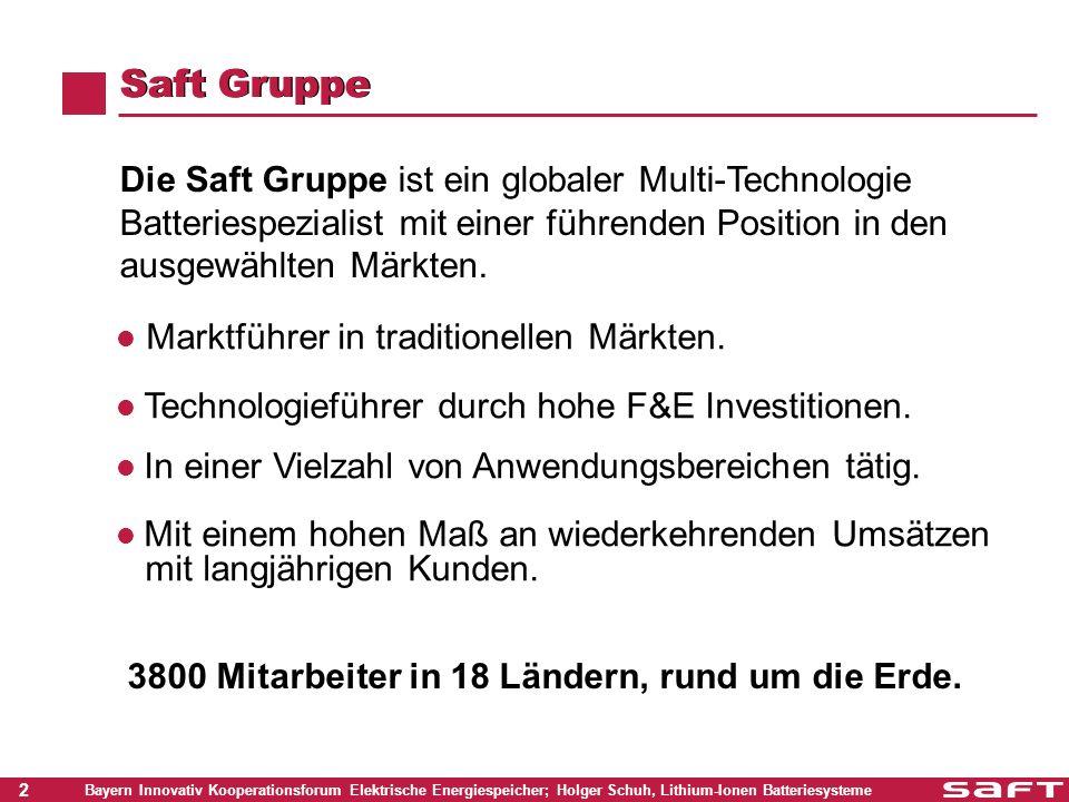 2 Bayern Innovativ Kooperationsforum Elektrische Energiespeicher; Holger Schuh, Lithium-Ionen Batteriesysteme Saft Gruppe Die Saft Gruppe ist ein glob