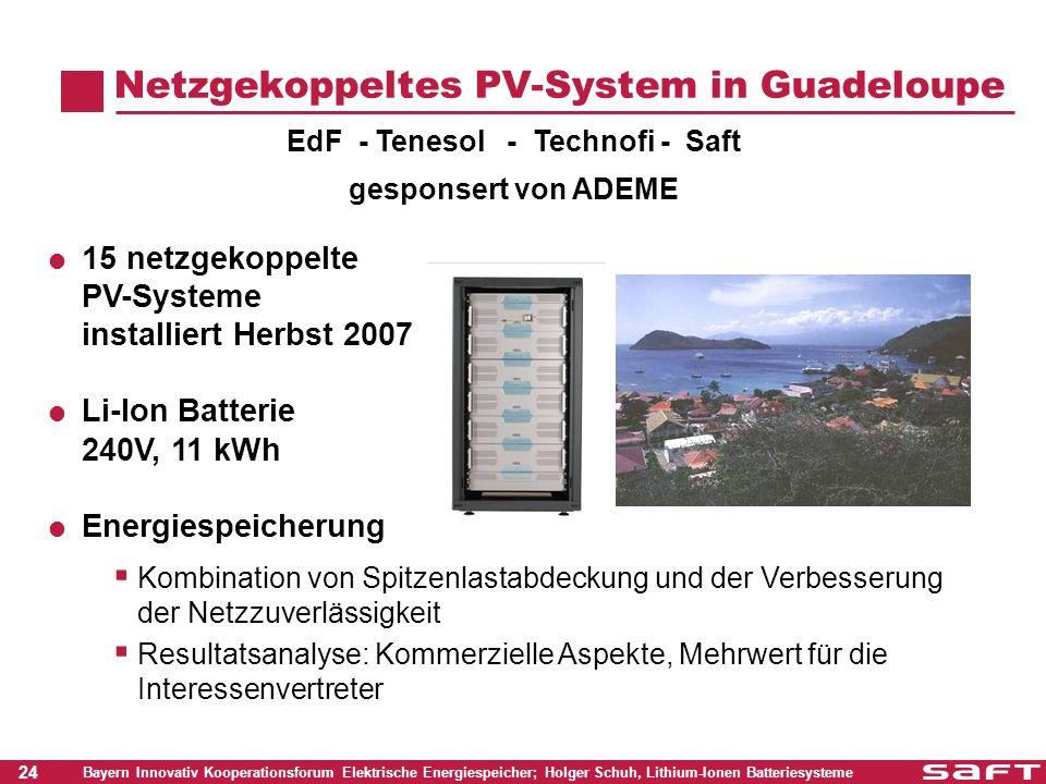 24 Bayern Innovativ Kooperationsforum Elektrische Energiespeicher; Holger Schuh, Lithium-Ionen Batteriesysteme Netzgekoppeltes PV-System in Guadeloupe