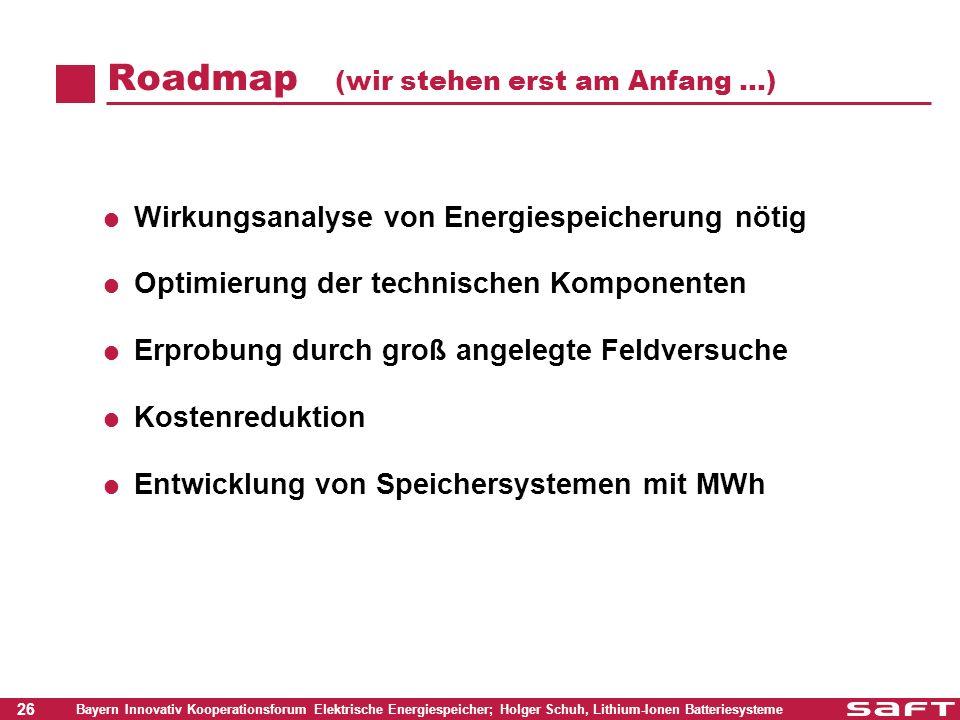 26 Bayern Innovativ Kooperationsforum Elektrische Energiespeicher; Holger Schuh, Lithium-Ionen Batteriesysteme Roadmap (wir stehen erst am Anfang …) W