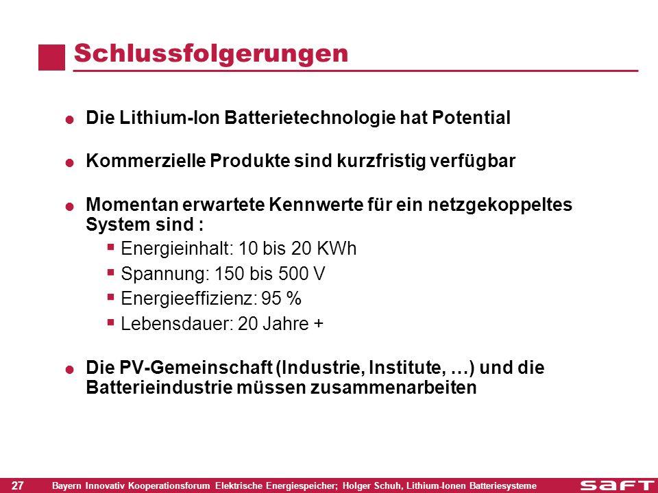 27 Bayern Innovativ Kooperationsforum Elektrische Energiespeicher; Holger Schuh, Lithium-Ionen Batteriesysteme Schlussfolgerungen Die Lithium-Ion Batt