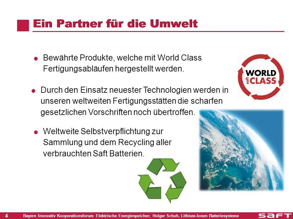 25 Bayern Innovativ Kooperationsforum Elektrische Energiespeicher; Holger Schuh, Lithium-Ionen Batteriesysteme Zielsetzung bei den Kosten Kurzfristig 2012 Mittelfristig 2020 Langfristig Lebensdauer (Jahre) 203040 Life Cycle Cost (Eurocents/kWh genutzter Speicherenergie) < 7< 3< 1.5 Kosten (Euro/KWh) < 320< 230< 160 Daten basieren auf der Zielvorgabe der SRA (strategic research agenda) für eine 10 - 20 kWh Batterie in einem netzgekoppelten PV-System