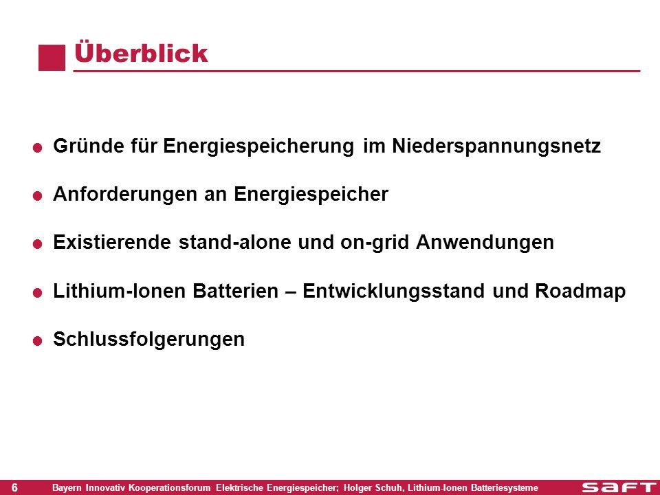 27 Bayern Innovativ Kooperationsforum Elektrische Energiespeicher; Holger Schuh, Lithium-Ionen Batteriesysteme Schlussfolgerungen Die Lithium-Ion Batterietechnologie hat Potential Kommerzielle Produkte sind kurzfristig verfügbar Momentan erwartete Kennwerte für ein netzgekoppeltes System sind : Energieinhalt: 10 bis 20 KWh Spannung: 150 bis 500 V Energieeffizienz: 95 % Lebensdauer: 20 Jahre + Die PV-Gemeinschaft (Industrie, Institute, …) und die Batterieindustrie müssen zusammenarbeiten