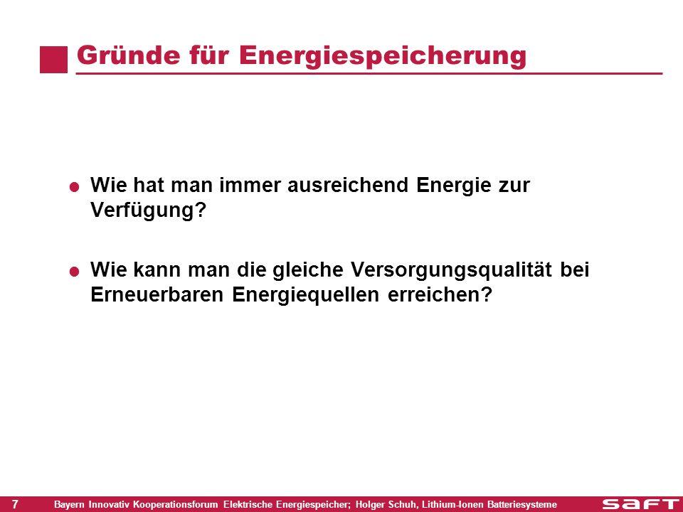 8 Bayern Innovativ Kooperationsforum Elektrische Energiespeicher; Holger Schuh, Lithium-Ionen Batteriesysteme Speicherung von regenerativen Energien Heute: Keine Speicherung - Direkteinspeisung in das Netz Erzeugung und Verbrauch ausschließlich über das Netz Zukünftig im Niederspannungsnetz: Starke Verbreitung von PV-Systemen Hauptanforderungen sind Spitzenlastabdeckung, Netzregelung und Netzqualität Energie wird bei Bedarf auch lokal zur Verfügung gestellt Energie wird bei Bedarf auch lokal zur Verfügung gestellt