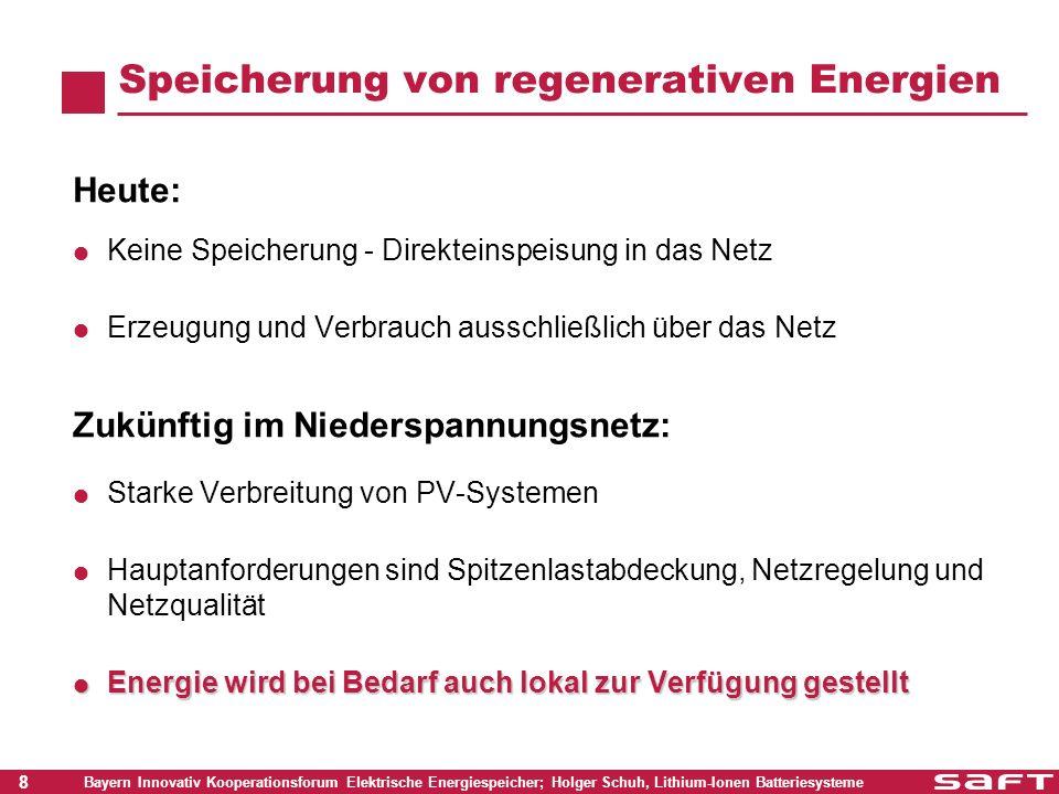 19 Bayern Innovativ Kooperationsforum Elektrische Energiespeicher; Holger Schuh, Lithium-Ionen Batteriesysteme Saft Lithium-Ionen: Batteriesystem Modulares System 240V – 45 Ah 5 Energie Module x 48V 14 Zellen Zellenausgleich Zellenspannungsmessung Temperaturmessung EOC, EOD Signale 1 Steuermodul Batteriemanagement Leistungsschaltung Kommunikation SOH, SOC Alarme Integrierbar in eine Systemsteuerung