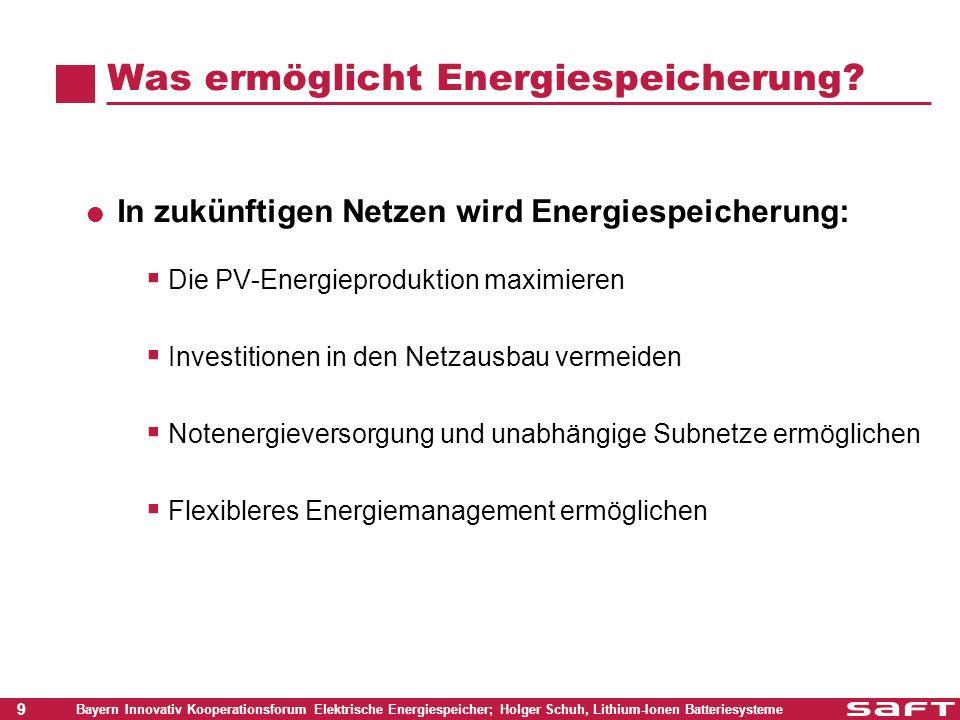 20 Bayern Innovativ Kooperationsforum Elektrische Energiespeicher; Holger Schuh, Lithium-Ionen Batteriesysteme PV System-Architektur PV Panels Steuerelektronik Batteriesystem Lasten Netz