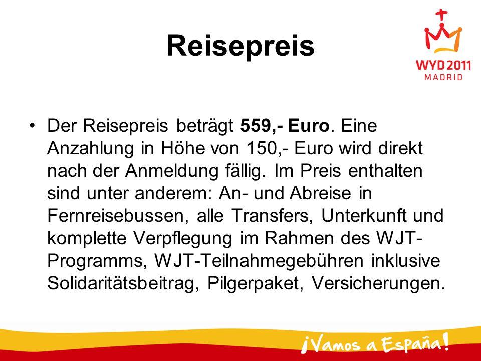 Reisepreis Der Reisepreis beträgt 559,- Euro. Eine Anzahlung in Höhe von 150,- Euro wird direkt nach der Anmeldung fällig. Im Preis enthalten sind unt