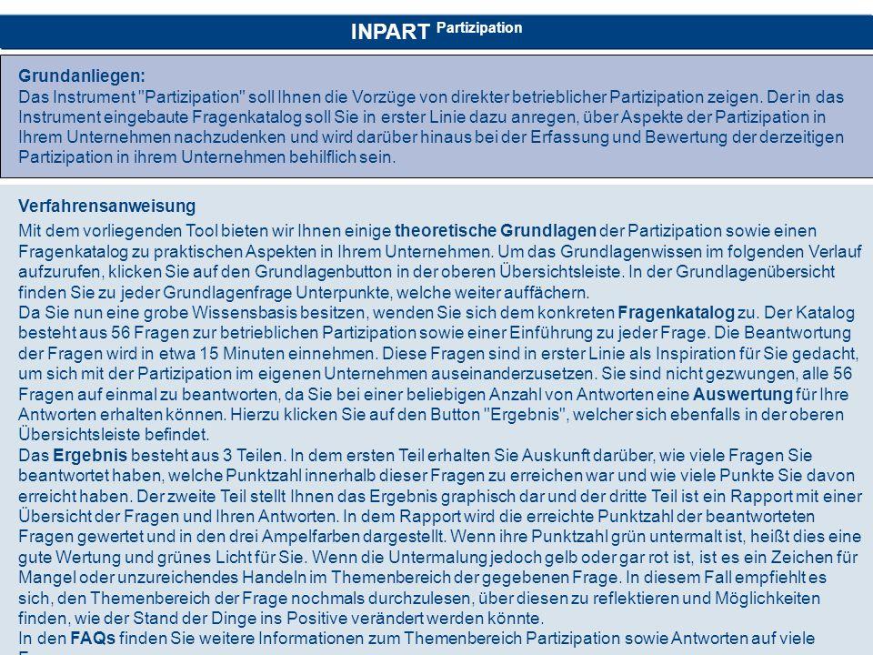 INPART Partizipation Grundanliegen: Das Instrument