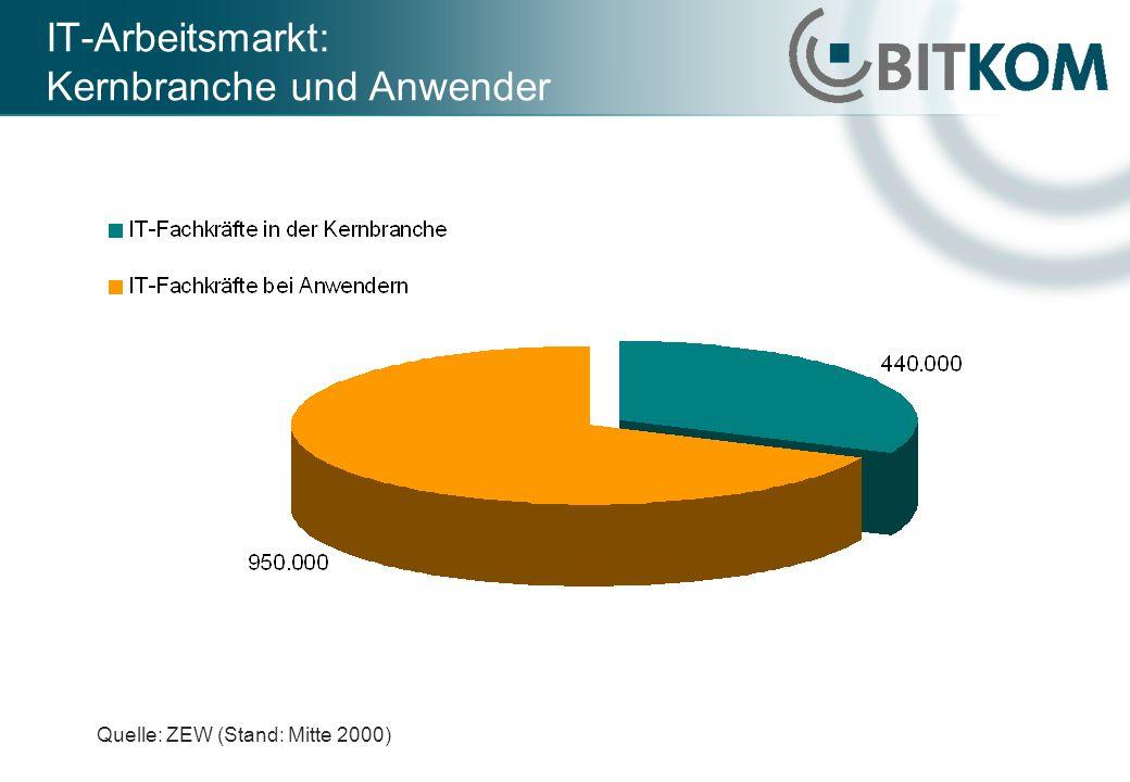 IT-Arbeitsmarkt: Kernbranche und Anwender Quelle: ZEW (Stand: Mitte 2000)