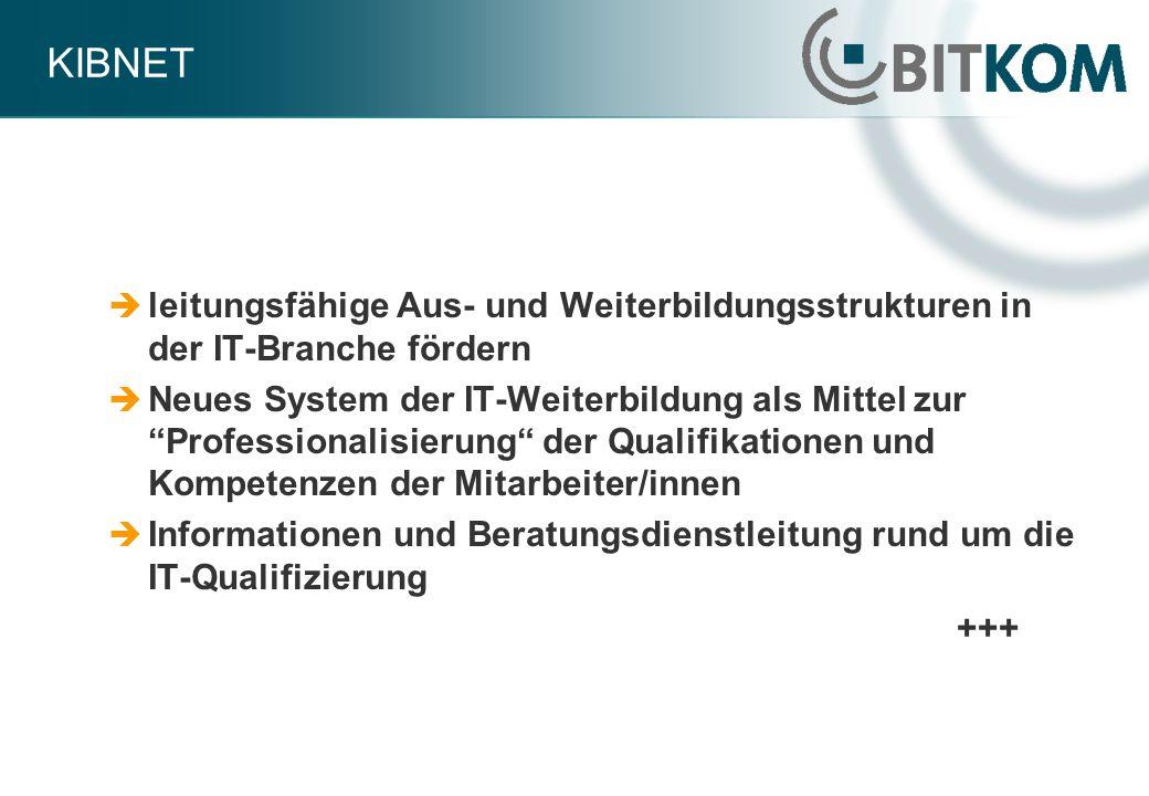 KIBNET leitungsfähige Aus- und Weiterbildungsstrukturen in der IT-Branche fördern Neues System der IT-Weiterbildung als Mittel zur Professionalisierun
