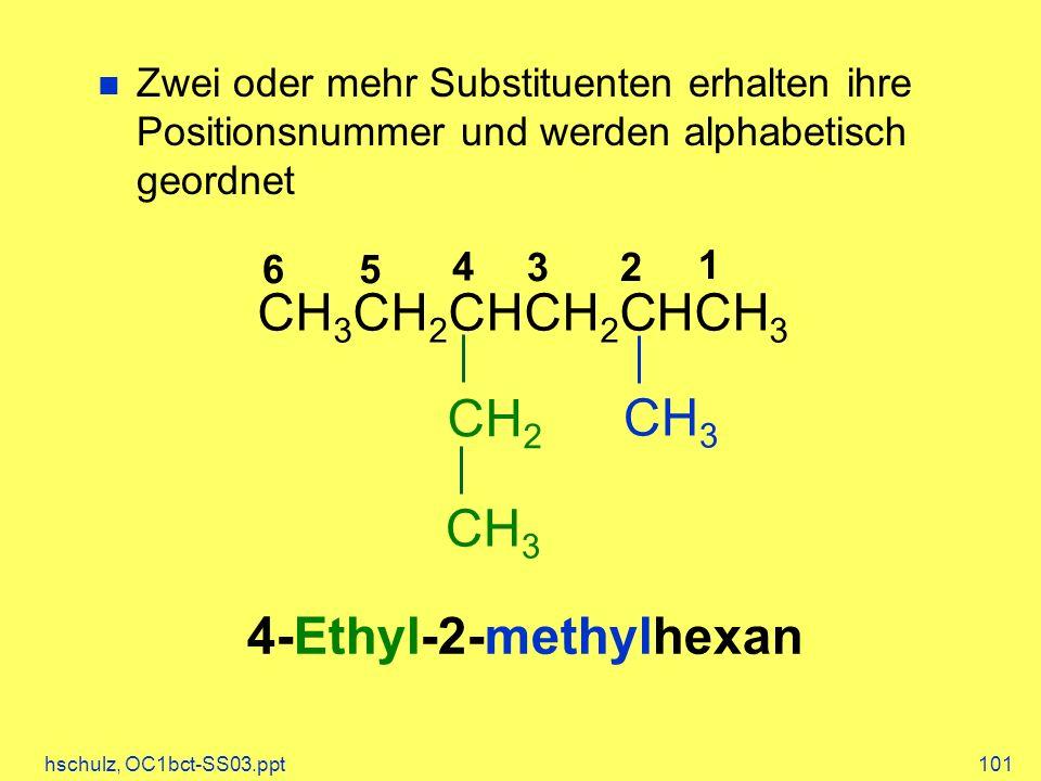 hschulz, OC1bct-SS03.ppt101 CH 3 CH 2 CHCH 2 CHCH 3 CH 3 CH 2 CH 3 1 2 3 4 56 4-Ethyl-2-methylhexan Zwei oder mehr Substituenten erhalten ihre Positionsnummer und werden alphabetisch geordnet