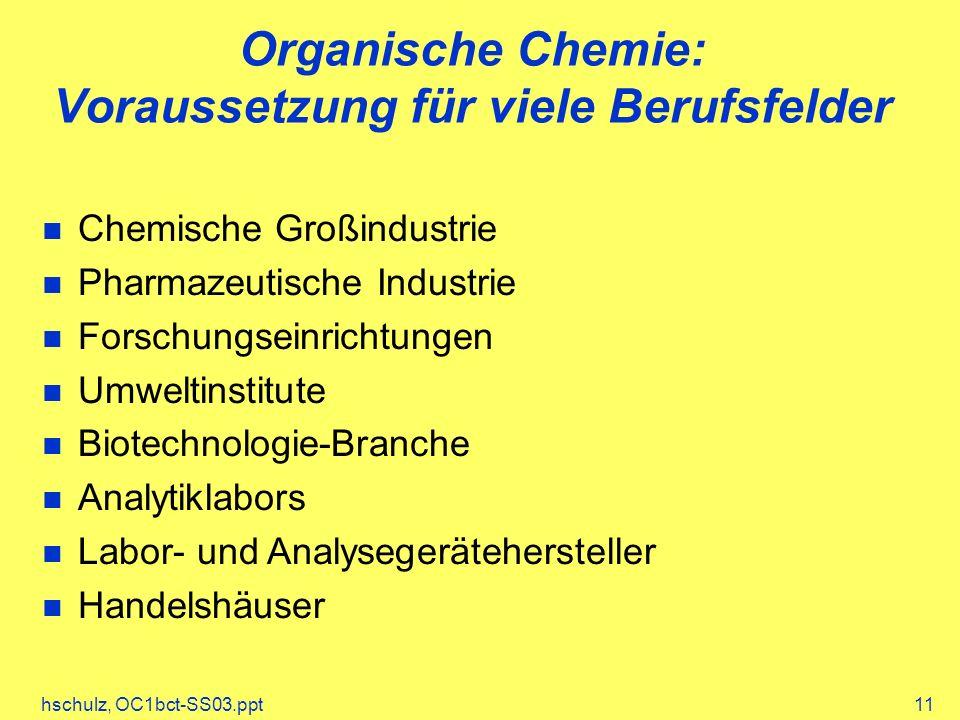hschulz, OC1bct-SS03.ppt11 Organische Chemie: Voraussetzung für viele Berufsfelder Chemische Großindustrie Pharmazeutische Industrie Forschungseinrichtungen Umweltinstitute Biotechnologie-Branche Analytiklabors Labor- und Analysegerätehersteller Handelshäuser